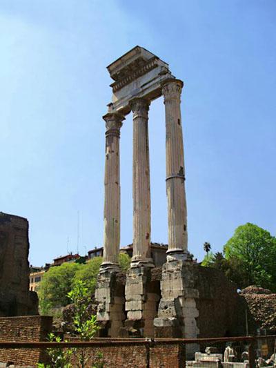 El Templo de Castor y Pollux, en el Foro Romano